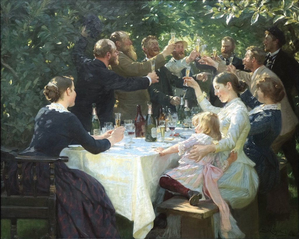 Olio su tela brindisi P.S. Krøyer
